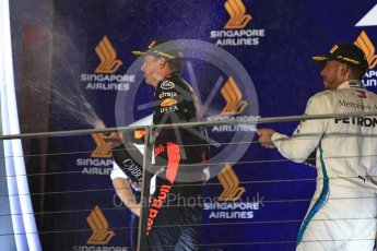 World © Octane Photographic Ltd. Formula 1 – Singapore GP – Race Podium. Aston Martin Red Bull Racing TAG Heuer RB14 – Max Verstappen. Marina Bay Street Circuit, Singapore. Sunday 16th September 2018.