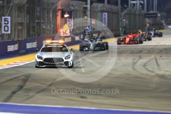 World © Octane Photographic Ltd. Formula 1 – Singapore GP – Race. Mercedes AMG Petronas Motorsport AMG F1 W09 EQ Power+ - Lewis Hamilton leads under safety car. Marina Bay Street Circuit, Singapore. Sunday 16th September 2018.