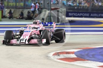 World © Octane Photographic Ltd. Formula 1 – Singapore GP - Race. Racing Point Force India VJM11 - Sergio Perez. Marina Bay Street Circuit, Singapore. Sunday 16th September 2018.