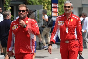 World © Octane Photographic Ltd. Formula 1 - Singapore GP - Paddock. Maurizio Arrivabene – Managing Director and Team Principal of Scuderia Ferrari and Gino Rosato – Ferrari Corporate Affairs. Marina Bay Street Circuit, Singapore. Friday 14th September 2018.