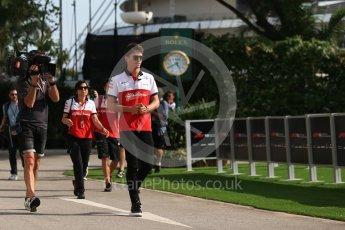 World © Octane Photographic Ltd. Formula 1 – Singapore GP - Thursday Pit Lane. Alfa Romeo Sauber F1 Team – Charles Leclerc. Marina Bay Street Circuit, Singapore. Thursday 13th September 2018.