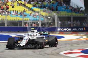 World © Octane Photographic Ltd. Formula 1 – Singapore GP - Practice 1. Williams Martini Racing FW41 – Sergey Sirotkin. Marina Bay Street Circuit, Singapore. Friday 14th September 2018.