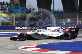 World © Octane Photographic Ltd. Formula 1 – Singapore GP - Practice 1. Williams Martini Racing FW41 – Lance Stroll. Marina Bay Street Circuit, Singapore. Friday 14th September 2018.