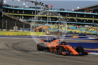 World © Octane Photographic Ltd. Formula 1 – Singapore GP - Practice 1. McLaren MCL33 – Fernando Alonso. Marina Bay Street Circuit, Singapore. Friday 14th September 2018.