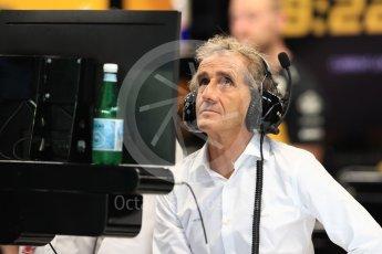 World © Octane Photographic Ltd. Formula 1 - Singapore GP - Practice 3. Alain Prost – Special Advisor to Renault Sport Formula 1 Team. Marina Bay Street Circuit, Singapore. Saturday 15th September 2018.