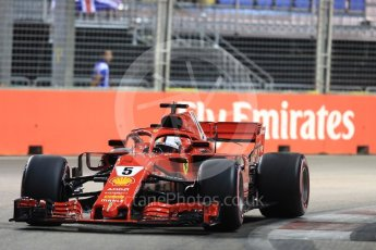 World © Octane Photographic Ltd. Formula 1 – Singapore GP - Qualifying. Scuderia Ferrari SF71-H – Sebastian Vettel. Marina Bay Street Circuit, Singapore. Saturday 15th September 2018.