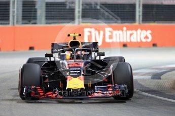 World © Octane Photographic Ltd. Formula 1 – Singapore GP - Qualifying. Aston Martin Red Bull Racing TAG Heuer RB14 – Max Verstappen. Marina Bay Street Circuit, Singapore. Saturday 15th September 2018.