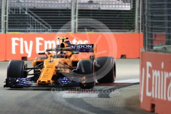 World © Octane Photographic Ltd. Formula 1 – Singapore GP - Qualifying. McLaren MCL33 – Stoffel Vandoorne. Marina Bay Street Circuit, Singapore. Saturday 15th September 2018.