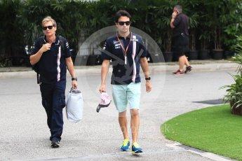 World © Octane Photographic Ltd. Formula 1 – Singapore GP - Paddock. Racing Point Force India VJM11 - Sergio Perez. Marina Bay Street Circuit, Singapore. Saturday 15th September 2018.