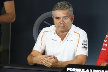 World © Octane Photographic Ltd. Formula 1 - Singapore GP - Friday FIA Team Press Conference. Gil De Ferran - Sporting Director of McLaren. Marina Bay Street Circuit, Singapore. Friday 14th September 2018.