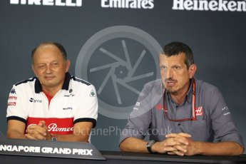 World © Octane Photographic Ltd. Formula 1 - Singapore GP - Friday FIA Team Press Conference. Frederic Vasseur – Team Principal and CEO of Sauber Motorsport AG and Guenther Steiner  - Team Principal of Haas F1 Team. Marina Bay Street Circuit, Singapore. Friday 14th September 2018.