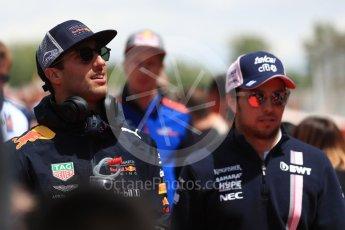 World © Octane Photographic Ltd. Formula 1 – Spanish GP - Drivers' Parade. Aston Martin Red Bull Racing TAG Heuer RB14 – Daniel Ricciardo and Sahara Force India VJM11 - Sergio Perez. Circuit de Barcelona-Catalunya, Spain. Sunday 13th May 2018.
