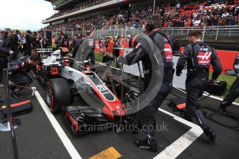 World © Octane Photographic Ltd. Formula 1 – Spanish GP - Grid. Haas F1 Team VF-18 – Kevin Magnussen. Circuit de Barcelona-Catalunya, Spain. Sunday 13th May 2018.