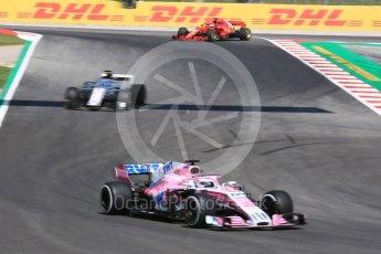World © Octane Photographic Ltd. Formula 1 – Spanish GP - Practice 1. Sahara Force India VJM11 - Sergio Perez, Haas F1 Team VF-18 – Romain Grosjean and Scuderia Ferrari SF71-H – Sebastian Vettel (spinning). Circuit de Barcelona-Catalunya, Spain. Friday 11th May 2018.