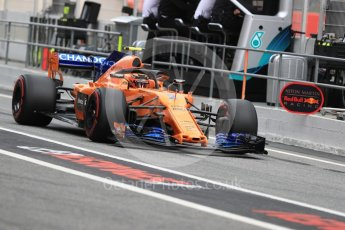 World © Octane Photographic Ltd. Formula 1 – Spanish GP - Saturday - Practice 3. McLaren MCL33 – Stoffel Vandoorne. Circuit de Barcelona-Catalunya, Spain. Saturday 12th May 2018.