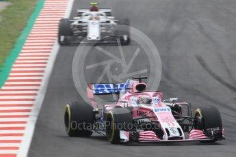 World © Octane Photographic Ltd. Formula 1 – Spanish GP - Saturday Qualifying. Sahara Force India VJM11 - Sergio Perez and Sauber F1 Team C37 – Charles Leclerc. Circuit de Barcelona-Catalunya, Spain. Saturday 12th May 2018.
