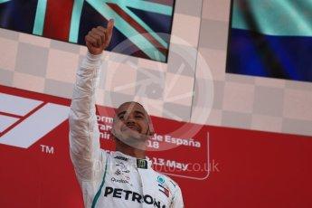 World © Octane Photographic Ltd. Formula 1 – Spanish GP - Sunday Podium. Mercedes AMG Petronas Motorsport AMG F1 W09 EQ Power+ - Lewis Hamilton (1st). Circuit de Barcelona-Catalunya, Spain. Sunday 13th May 2018.