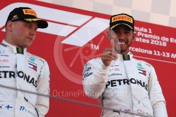 World © Octane Photographic Ltd. Formula 1 – Spanish GP - Sunday Podium. Mercedes AMG Petronas Motorsport AMG F1 W09 EQ Power+ - Lewis Hamilton (1st) and Valtteri Bottas (2nd). Circuit de Barcelona-Catalunya, Spain. Sunday 13th May 2018.