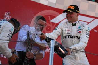 World © Octane Photographic Ltd. Formula 1 – Spanish GP - Sunday Podium. Mercedes AMG Petronas Motorsport AMG F1 W09 EQ Power+ - Lewis Hamilton (1st) Valtteri Bottas (2nd) with Peter Bonnington – Race Engineer. Circuit de Barcelona-Catalunya, Spain. Sunday 13th May 2018.