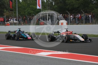 World © Octane Photographic Ltd. FIA Formula 2 (F2) – Spanish GP - Race1. Campos Vexatec Racing - Luca Ghiotto and DAMS - Alexander Albon. Circuit de Barcelona-Catalunya, Spain. Saturday 12th May 2018.