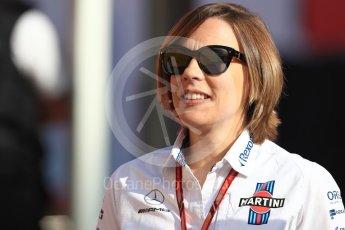 World © Octane Photographic Ltd. Formula 1 - Spanish GP - Friday Paddock. Claire Williams - Deputy Team Principal of Williams Martini Racing. Circuit de Barcelona-Catalunya, Spain. Friday 11th May 2018.