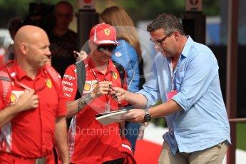 World © Octane Photographic Ltd. Formula 1 – Spanish GP - Saturday - Paddock. Scuderia Ferrari SF71-H – Kimi Raikkonen. Circuit de Barcelona-Catalunya, Spain. Saturday 12th May 2018.