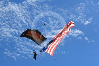 World © Octane Photographic Ltd. Formula 1 – United States GP - Grid. Parachuter. Circuit of the Americas (COTA), USA. Sunday 21st October 2018.