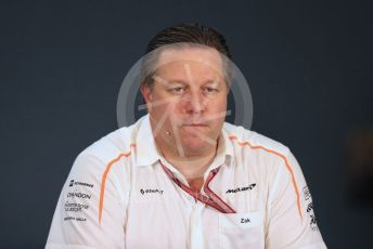 World © Octane Photographic Ltd. Formula 1 - United States GP - Friday FIA Team Press Conference. Zak Brown - Executive Director of McLaren Technology Group. Circuit of the Americas (COTA), USA. Friday 18th October 2018.