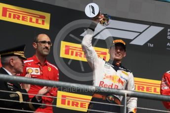 World © Octane Photographic Ltd. Formula 1 – United States GP - Race Podium. Aston Martin Red Bull Racing TAG Heuer RB14 – Max Verstappen. Circuit of the Americas (COTA), USA. Sunday 21st October 2018.