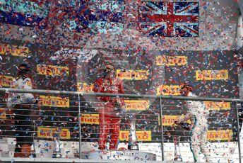 World © Octane Photographic Ltd. Formula 1 – United States GP - Podium. Scuderia Ferrari SF71-H – Kimi Raikkonen followed by Aston Martin Red Bull Racing TAG Heuer RB14 – Max Verstappen and Mercedes AMG Petronas Motorsport AMG F1 W09 EQ Power+ - Lewis Hamilton. Circuit of the Americas (COTA), USA. Sunday 21st October 2018.