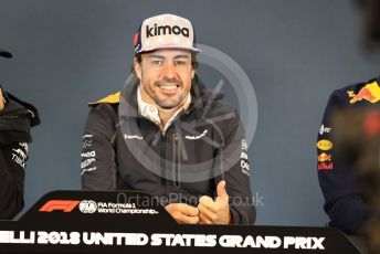 World © Octane Photographic Ltd. Formula 1 – United States GP - FIA Drivers' Press Conference. McLaren – Fernando Alonso. Circuit of the Americas (COTA), USA. Thursday 18th October 2018.