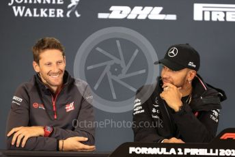 World © Octane Photographic Ltd. Formula 1 – United States GP - FIA Drivers' Press Conference. Mercedes AMG Petronas Motorsport - Lewis Hamilton and Haas F1 Team – Romain Grosjean. Circuit of the Americas (COTA), USA. Thursday 18th October 2018.