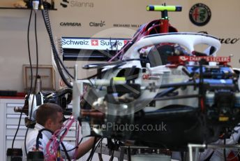 World © Octane Photographic Ltd. Formula 1 – United States GP - Pit Lane. Alfa Romeo Sauber F1 Team C37. Circuit of the Americas (COTA), USA. Thursday 18th October 2018.