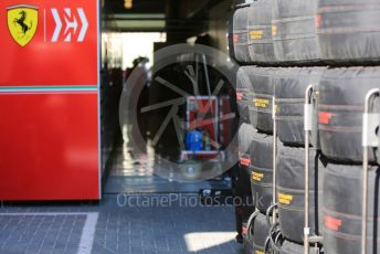 World © Octane Photographic Ltd. Formula 1 – Abu Dhabi GP - Practice 1. Scuderia Ferrari garage and Pirelli tyres. Yas Marina Circuit, Abu Dhabi, UAE. Friday 29th November 2019.