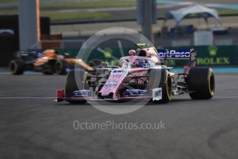 World © Octane Photographic Ltd. Formula 1 – Abu Dhabi GP - Practice 2. SportPesa Racing Point RP19 – Lance Stroll and McLaren MCL34 – Carlos Sainz. Yas Marina Circuit, Abu Dhabi, UAE. Friday 29th November 2019.