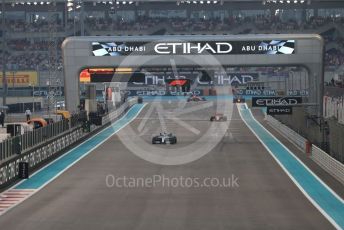 World © Octane Photographic Ltd. Formula 1 – Abu Dhabi GP - Race. Mercedes AMG Petronas Motorsport AMG F1 W10 EQ Power+ - Lewis Hamilton, Scuderia Ferrari SF90 – Charles Leclerc and Aston Martin Red Bull Racing RB15 – Max Verstappen. Yas Marina Circuit, Abu Dhabi, UAE. Sunday 1st December 2019.
