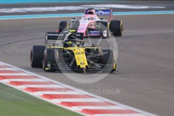 World © Octane Photographic Ltd. Formula 1 – Abu Dhabi GP - Race. Renault Sport F1 Team RS19 – Nico Hulkenberg and SportPesa Racing Point RP19 - Sergio Perez. Yas Marina Circuit, Abu Dhabi, UAE. Sunday 1st December 2019.