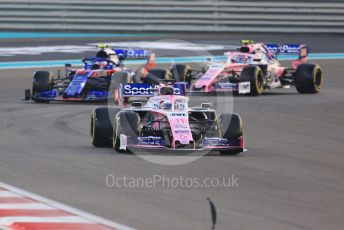 World © Octane Photographic Ltd. Formula 1 – Abu Dhabi GP - Race. SportPesa Racing Point RP19 - Sergio Perez and Lance Stroll sandwiching the Scuderia Toro Rosso STR14 of Pierre Gasly. Yas Marina Circuit, Abu Dhabi, UAE. Sunday 1st December 2019.