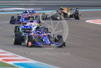 World © Octane Photographic Ltd. Formula 1 – Abu Dhabi GP - Race. SportPesa Racing Point RP19 - Sergio Perez and Lance Stroll sandwiching the Scuderia Toro Rosso STR14 of Pierre Gasly with Haas F1 Team VF19 – Kevin Magnussen. Yas Marina Circuit, Abu Dhabi, UAE. Sunday 1st December 2019.