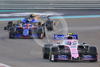 World © Octane Photographic Ltd. Formula 1 – Abu Dhabi GP - Race. SportPesa Racing Point RP19 – Lance Stroll, Scuderia Toro Rosso STR14 – Daniil Kvyat and Haas F1 Team VF19 – Kevin Magnussen. Yas Marina Circuit, Abu Dhabi, UAE. Sunday 1st December 2019.