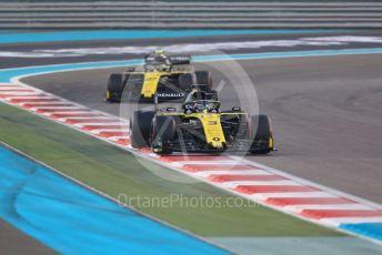 World © Octane Photographic Ltd. Formula 1 – Abu Dhabi GP - Race. Renault Sport F1 Team RS19 – Daniel Ricciardo and Nico Hulkenberg. Yas Marina Circuit, Abu Dhabi, UAE. Sunday 1st December 2019.