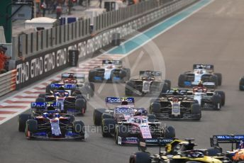World © Octane Photographic Ltd. Formula 1 – Abu Dhabi GP - Race. The back of the pack at the race start. Yas Marina Circuit, Abu Dhabi, UAE. Sunday 1st December 2019.