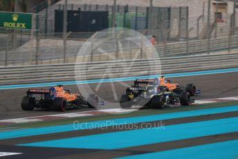 World © Octane Photographic Ltd. Formula 1 – Abu Dhabi GP - Race. McLaren MCL34 – Lando Norris and Carlos Sainz with Renault Sport F1 Team RS19 – Daniel Ricciardo. Yas Marina Circuit, Abu Dhabi, UAE. Sunday 1st December 2019.
