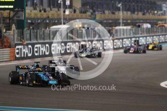 World © Octane Photographic Ltd. FIA Formula 2 (F2) – Abu Dhabi GP - Race 1. DAMS - Sergio Sette Camara and Sauber Junior Team - Callum Ilott on the green flag lap. Yas Marina Circuit, Abu Dhabi, UAE. Saturday 30th November 2019.