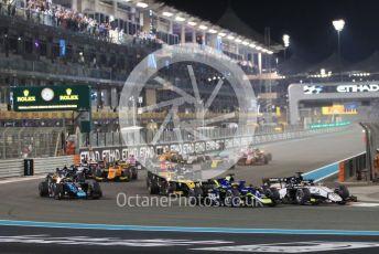 World © Octane Photographic Ltd. FIA Formula 2 (F2) – Abu Dhabi GP - Race 1. Sauber Junior Team - Callum Ilott leads into turn 1 on the 1st lap. Yas Marina Circuit, Abu Dhabi, UAE. Saturday 30th November 2019.