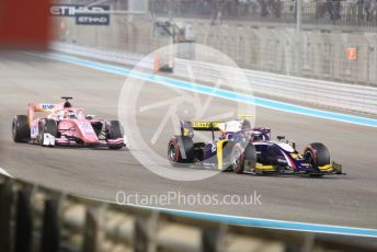 World © Octane Photographic Ltd. FIA Formula 2 (F2) – Abu Dhabi GP - Race 1. Trident – Christian Lundgaard and BWT Arden - Tatiana Calderon. Yas Marina Circuit, Abu Dhabi, UAE. Saturday 30th November 2019.