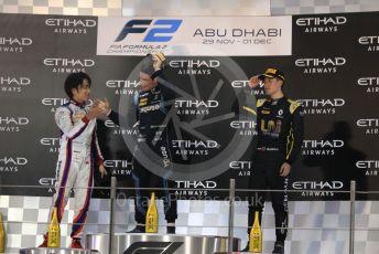 World © Octane Photographic Ltd. FIA Formula 2 (F2) – Abu Dhabi GP - Race 1. DAMS - Sergio Sette Camara, Carlin - Nobuharu Matsushita and Virtuosi Racing - Guanyu Zhou. Yas Marina Circuit, Abu Dhabi, UAE. Saturday 30th November 2019.
