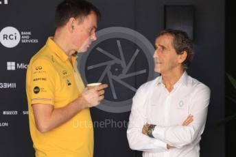World © Octane Photographic Ltd. Formula 1 - Abu Dhabi GP - Paddock. Remi Taffin– Engine Technical Director at Renault Sport Formula 1 Team and Alain Prost – Non-Executive Director. Yas Marina Circuit, Abu Dhabi, UAE. Saturday 30th November 2019.