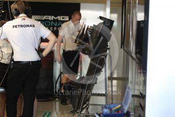 World © Octane Photographic Ltd. Formula 1 – Abu Dhabi GP - Pit Lane. Mercedes AMG Petronas Motorsport AMG F1 W10 EQ Power+. Yas Marina Circuit, Abu Dhabi, UAE. Sunday 1st December 2019.
