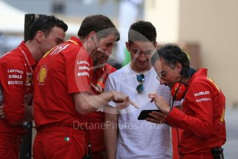 World © Octane Photographic Ltd. Formula 1 – Abu Dhabi Pirelli Tyre Test. Scuderia Ferrari – Charles Leclerc shares a laugh with Laurent Mekies – Sporting Director of Scuderia Ferrari and other members of the team. Yas Marina Circuit, Abu Dhabi, UAE. Tuesday 3rd December 2019.